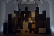setup of speakers resembling geological formations
